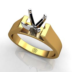 Lavish Sophistication: Four-Prong 18k Yellow Gold Engagement Ring Setting