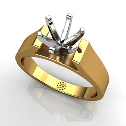 Solitaire Sensation: Six-Prong 18k Yellow Gold Engagement Ring Setting