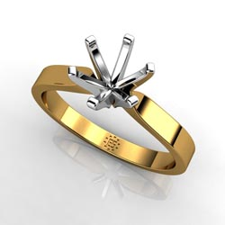 Gracious Opulence: Six-Prong 14k Yellow Gold Engagement Ring Setting