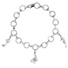 Silver Charm Bracelet with Three Charm Pendants