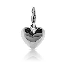 18kt White Gold Heart Charm Pendant