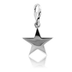 18kt White Gold Star Charm Pendant