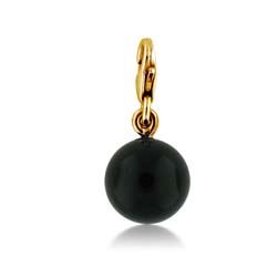 14kt Yellow Gold 10mm Onyx Ball  Charm Pendant
