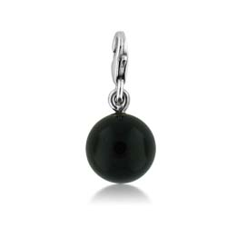 Silver 10mm Onyx Ball  Charm Pendant
