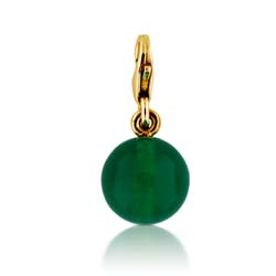 14kt Yellow Gold 10mm Agate Ball Charm Pendant
