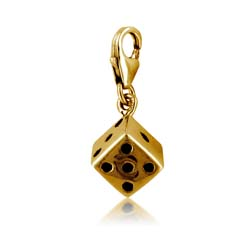 18kt Yellow Gold Dice Charm Pendant