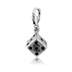 18kt White Gold Dice Charm Pendant