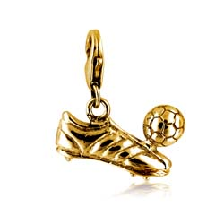 18kt Yellow Gold Football Boot and Ball Charm Pendant