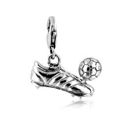 18kt White Gold Football Boot and Ball Charm Pendant