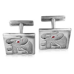 14kt White Gold Elephant Cuff Links