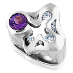 14 ct White Gold Irregular Amethyst & Diamond Ring