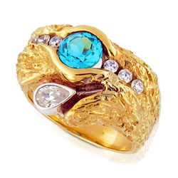 Glowing 14kt Yellow Gold Brilliant cut Topaz & Diamond Ring