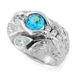 14kt White Gold Brilliant cut Topaz & Diamond Ring