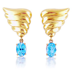 14kt Yellow Gold Angel Wing Shaped Earrings with Sky-Blue Topaz