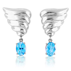14kt White Gold Angel Wing Shaped Earrings with Sky-Blue Topaz