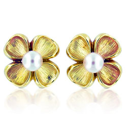 Rich Yellow 14kt Gold Clover and Pearl Earrings