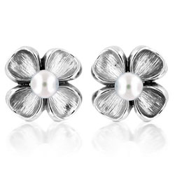 Silver 6mm White Round Immitation Pearl Stud Earrings