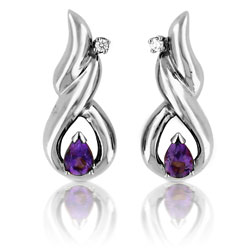 14kt White Gold Twirl Diamond & Amethyst Teardrop Earrings