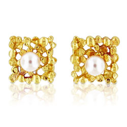 Glazing 14kt Yellow Gold Pearl Earrings