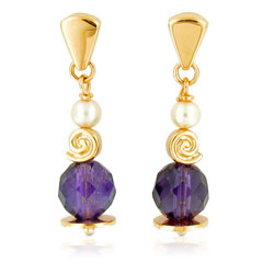 Beaming 18kt Yellow Gold Round Amethyst and Pearl Earrings