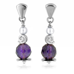 18kt White Gold Round Amethyst and Pearl Earrings