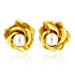 Opulent Flowering Rose Pearl Earrings in 14kt Yellow Gold