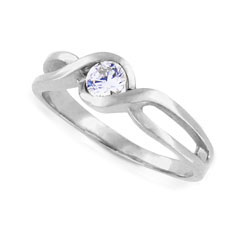 Elegant 14kt White Gold Diamond Engagement Ring