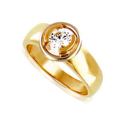 Contemporary 14kt Yellow Gold Diamond Engagement Ring