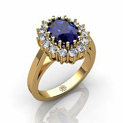 14kt Yellow Gold 6x8mm Oval Sapphire Engagement Ring