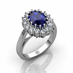 Silver 6x8mm Oval Synthetic Sapphire Engagement Ring