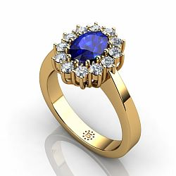 18kt Yellow Gold 5x7mm Oval Sapphire Engagement Ring