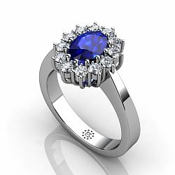 Silver 5x7mm Oval Synthetic Sapphire Engagement Ring