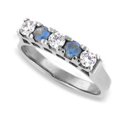 14k White Gold Beautiful Sapphires and Diamond Eternity Ring
