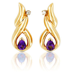 14kt Yellow Gold Twisted Teardrop Diamond & Amethyst Earrings
