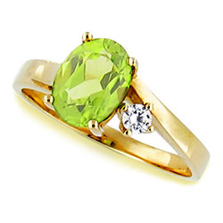14kt Yellow-White Gold Ring Stunning Oval Peridot and Diamond
