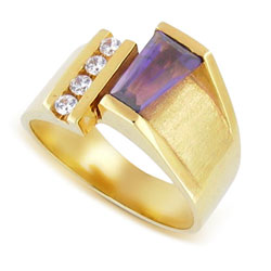 14kt Yellow Gold  Violet Baguette Amethyst Sparkling Diamond Ring