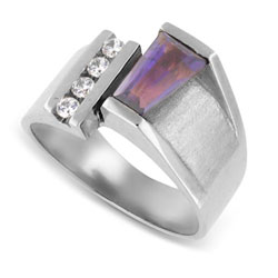 14kt White Gold Beautiful Baguette-cut Amethyst and Shiny Round-cut Diamond
