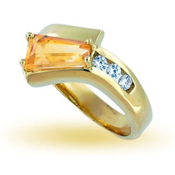 14kt Yellow Gold Pretty Yellow Baguette Citrine and Sparkling Diamond Ring