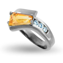 Platinum Cool Yellow Baguette Citrine with Three Round-cut Diamonds Ring