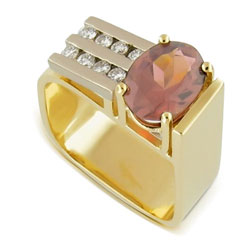 14kt Yellow and White Gold Beautiful Red Rhodolite and Diamond Ring