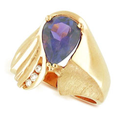 14kt Yellow Gold Innovative Pear Amethyst and Diamond Ring