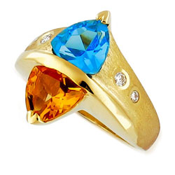 Unique 14kt Yellow Gold Citrin & Topaz and Diamond Ring