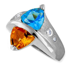 14kt White Gold Unique Citrin & Topaz and Diamond Ring