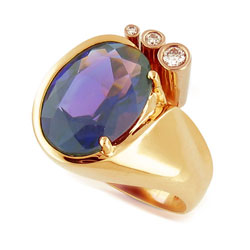 Beautiful 14kt Yellow-White Gold Oval Amethyst and Diamond Ring