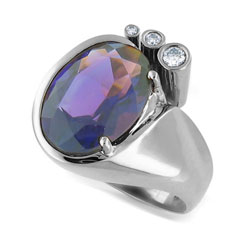 14kt White Gold Oval Amethyst and Diamond Ring