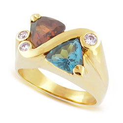 14kt Yellow Gold Colorful Gemstone and Sparkling Diamond Ring