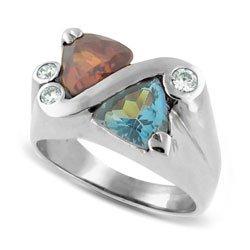 Beautiful 14kt White Gold Topaz and Rhodolite Diamond Ring