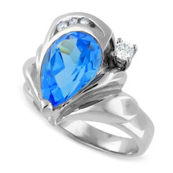 14kt White Gold Diamond and Topaz Ring