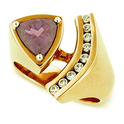 18kt Yellow-White Gold Rhodlite Ring with Diamonds
