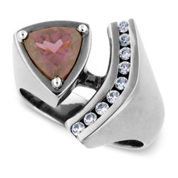 Gorgeous 14kt White Gold Rhodolite and Diamond Ring